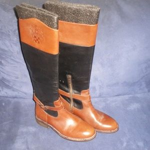 Vince Camuto Black/Tan Tall Leather Boots 7B